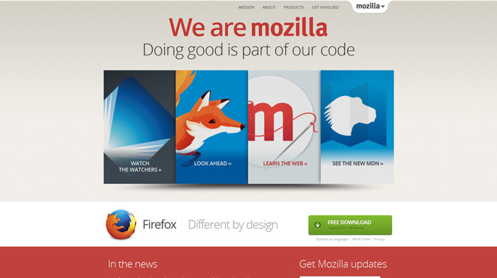 mozilla.org modern website design