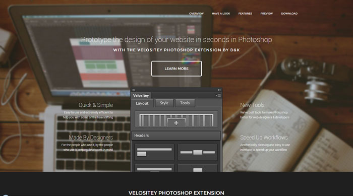 Velositey: Prototype the design of your website in seconds in Photoshop
