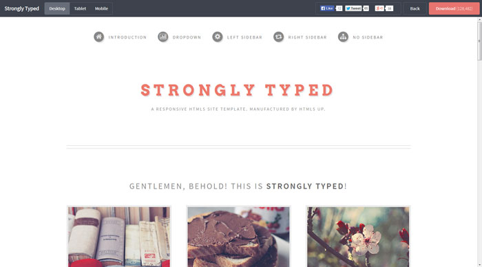Strongly Typed Free Responsive HTML Template