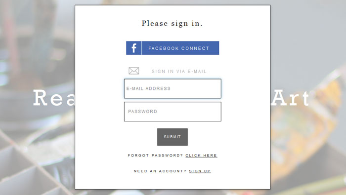 artsicle.com Social Login Design