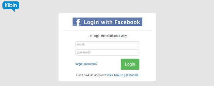 kibin.com Social Login Design