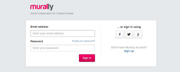 mural.ly Social Login Design