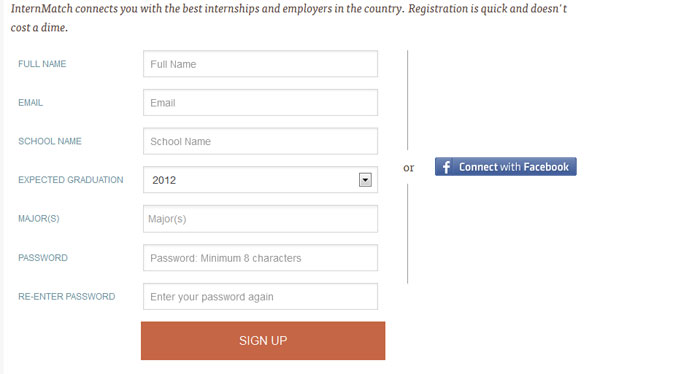 internmatch.com Social Login Design