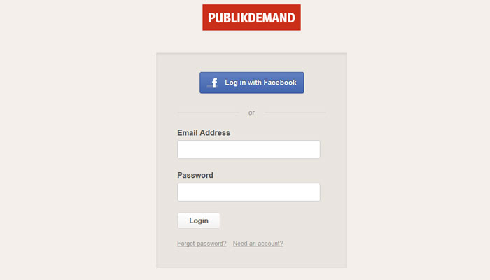 publikdemand.com Social Login Design