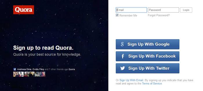 quora.com Social Login Design