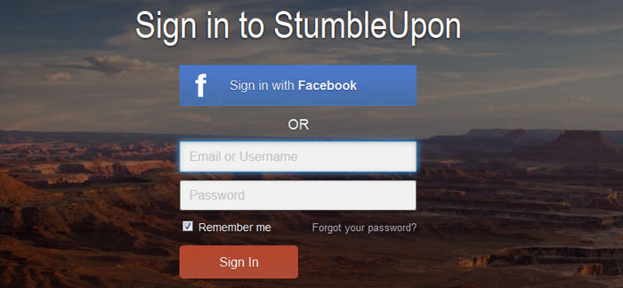 stumbleupon.com Social Login Design