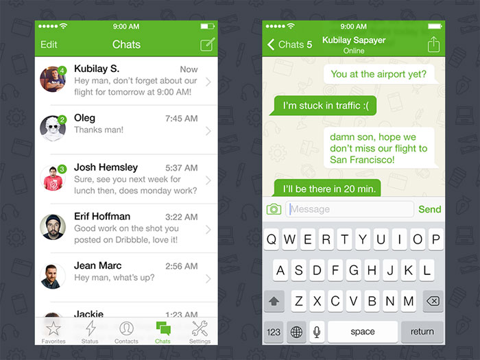 WhatsApp iOS 7 Redesign