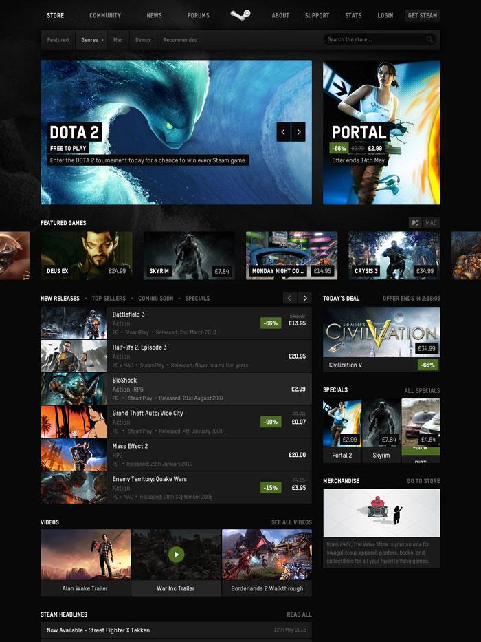 Steam Website Unsolicited Redesign