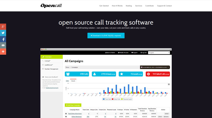 Opencall - open source call tracking software