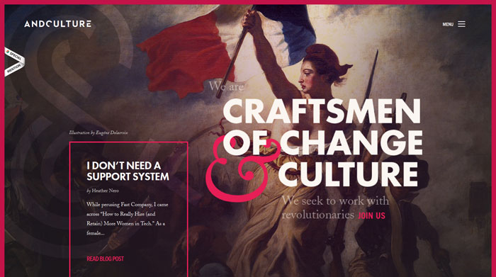 andculture.com Typography based website design