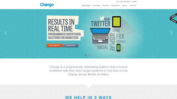 chango.com Typography based website design
