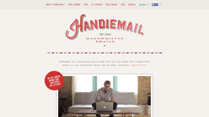 handiemail.com Typography based website design