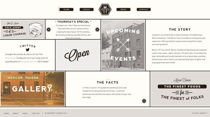 mercertavern.com Typography based website design