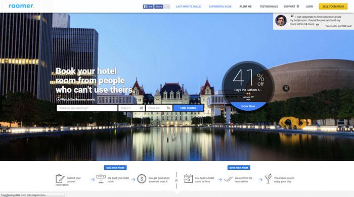 roomertravel.com Typography based website design