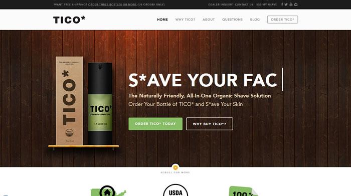 ticoshaving.com Typography based website design