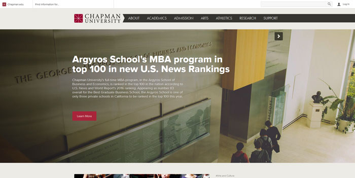 chapman_edu Great school website design: 51 Academic websites