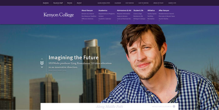 kenyon_edu Great school website design: 51 Academic websites