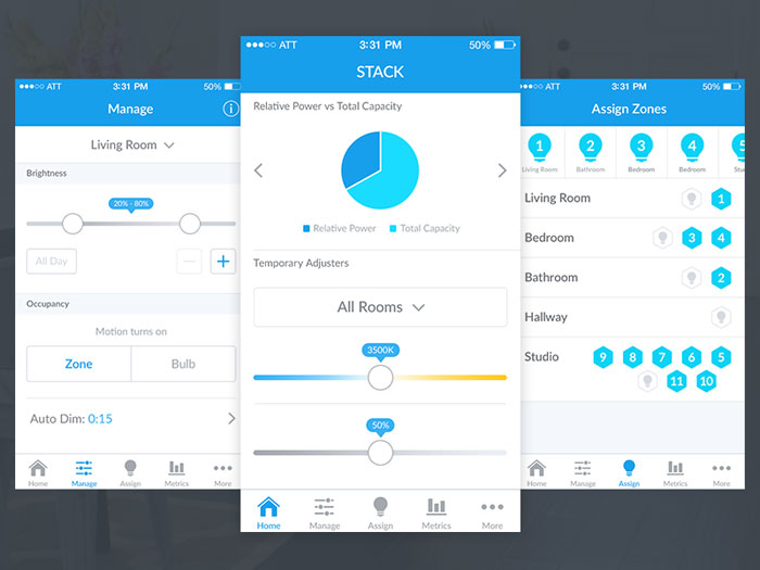 Stack Lighting iOS App User Interface Inspiration