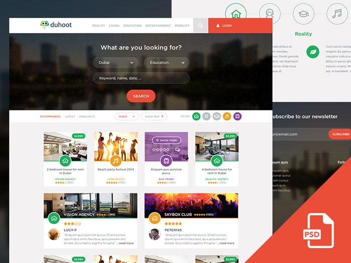 Duhoot Portal - Free PSD