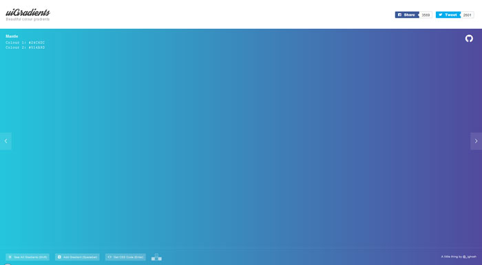 Showcase of websites with creative background gradients for Design home resources generator
