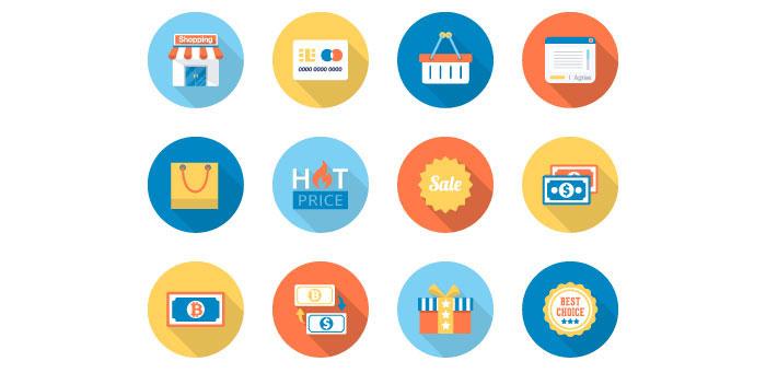 Free icon packs for web designers freebie flat e commerce icons set psd png altavistaventures Images