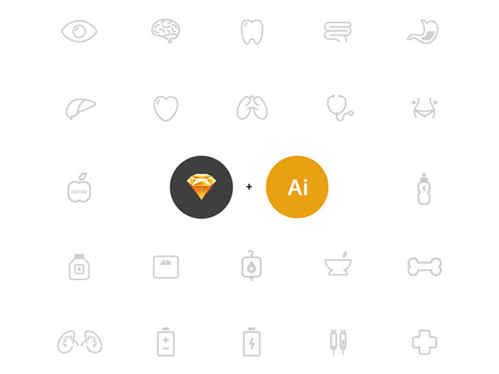 25 health icons – AI + Sketch