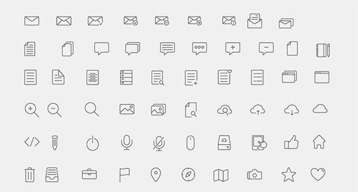 300 simple line icons