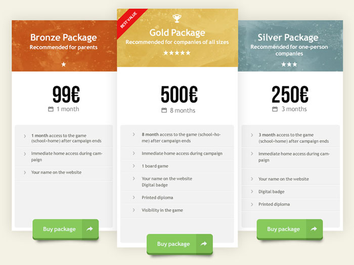Inspiration for designing a pricing table for Pricing table design