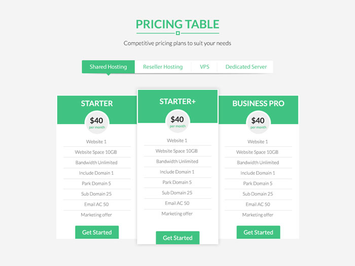 Full Featured Pricing Table For Hosting Business