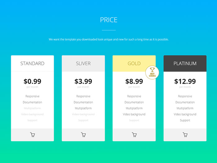 Ray - Pricing table