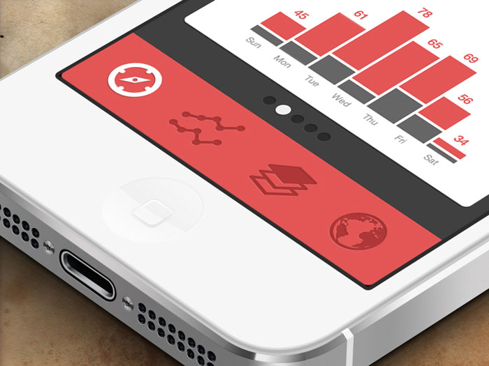 Tab bars in mobile ui design showcase of impressive app - Mobile bar design ...