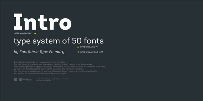 Intro font family