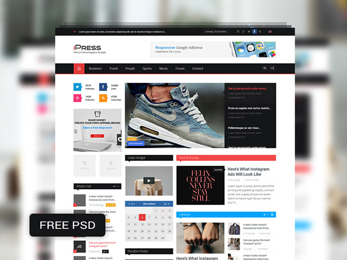 Free psd website templates available for download ipress free psd magazine blog template wajeb Choice Image