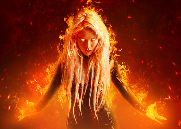 fantasy-fiery-portrait-photo-manipulation 91 Photoshop Photo Manipulation Tutorials: Become A Pro