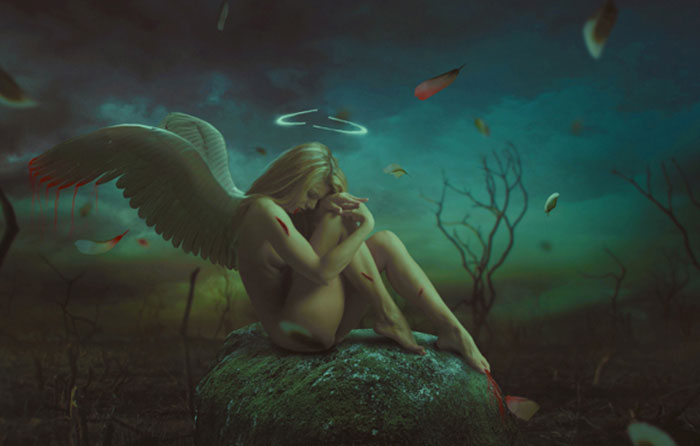 photo-manipulate-a-dark-emotional-fallen-angel-scene 91 Photoshop Photo Manipulation Tutorials: Become A Pro