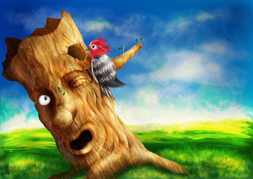 Create a Colorful Woodpecker and Tree Scenery Photoshop tutorial