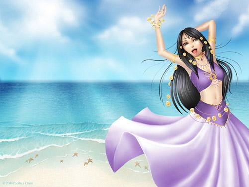 Beach Girl Drawing Photoshop tutorial