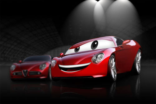 Create a Cartoon Car Similar to Cars Movie Photoshop tutorial