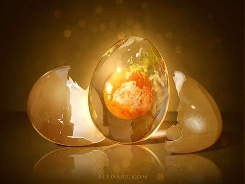 Egg Planet. Fantastic globe photo manipulation Photoshop tutorial