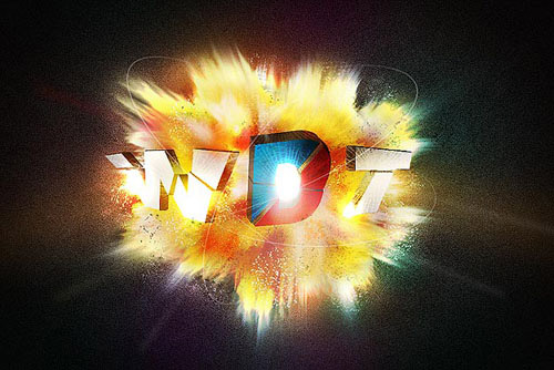3D explosion using the Brush and Smudge Tool Photoshop tutorial