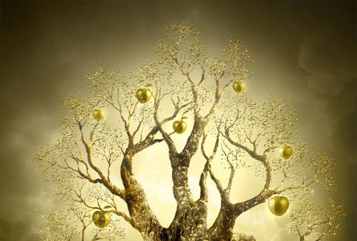 Golden Apple Tree. Magic scene photomanimpulation Photoshop tutorial