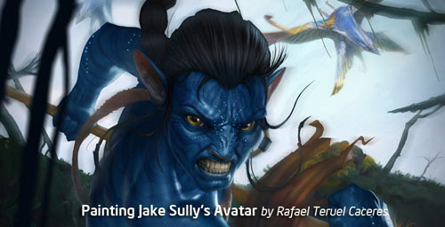 Painting Jake Sully's Avatar Photoshop tutorial