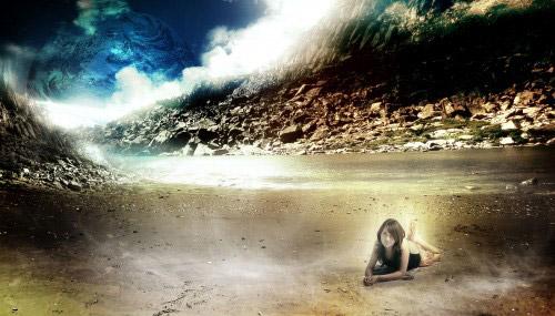 Design a Fantasy Style Mountain River Scene Photoshop tutorial