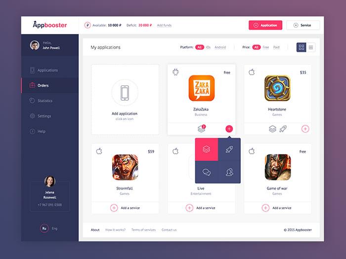 web page menu design