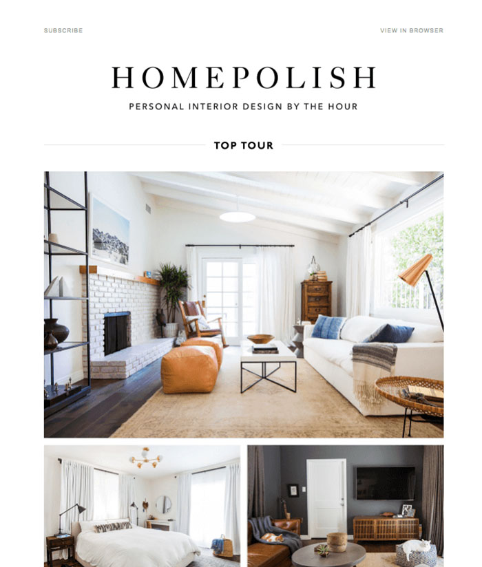 A Serene California Cottage In La Email Newsletter Design Best Practices