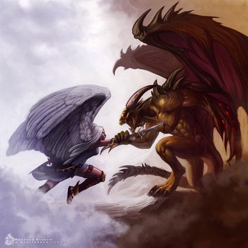 Archangel vs. Demon Lord drawing illustration