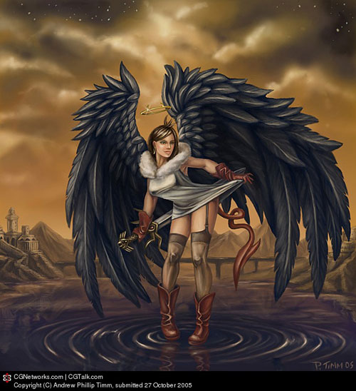 Angel with dark wings drawing illustration