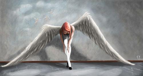 Angel bending drawing illustration