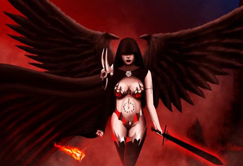 Demonic Archangel drawing illustration