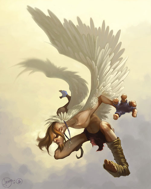 Icarus Angel drawing illustration